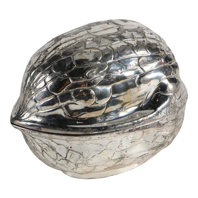 Mid 20th Century Vintage Mid-Century F.B. Rogers Silverplate Walnut Shaped Box For Sale - Image 5 of 5