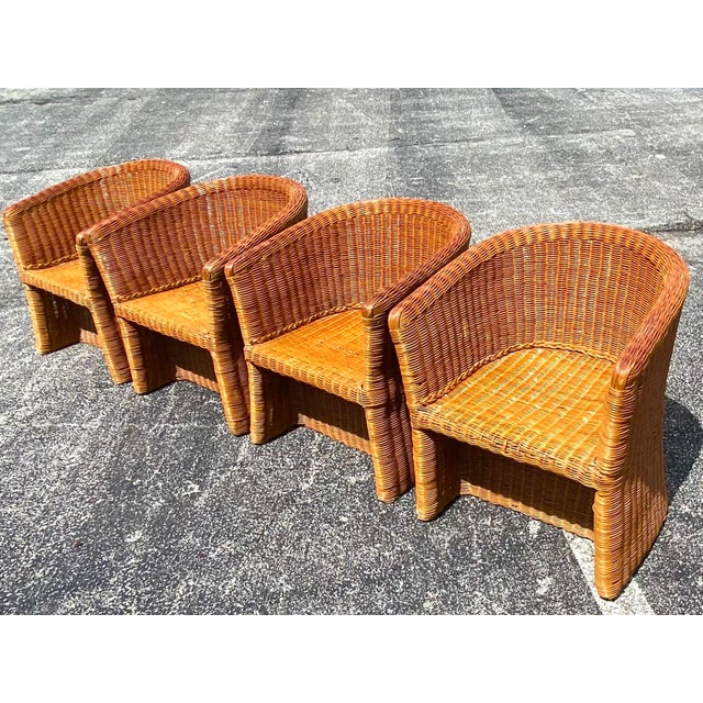 Vintage Boho Chic Rattan Barrel Chairs -Set of 4 For Sale - Image 11 of 13