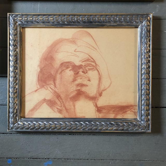 1950s Gallery Wall Collection 3 Original 1950's Sepia Female Portrait Drawings For Sale - Image 5 of 7