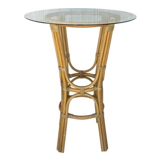 20th Century High Round Cocktail Table in Faux Bamboo With Glass Top For Sale