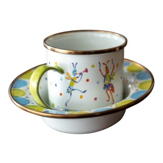 Mackenzie Childs Kid's Enamel Metal Bowl & Mug For Sale