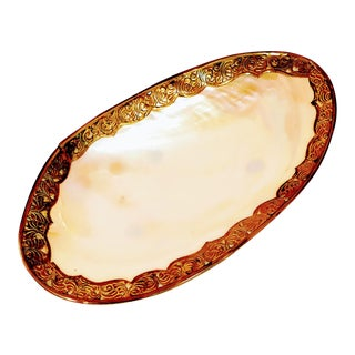 Vintage Shell & Brass Mother of Pearl Dish Oyster Tray For Sale