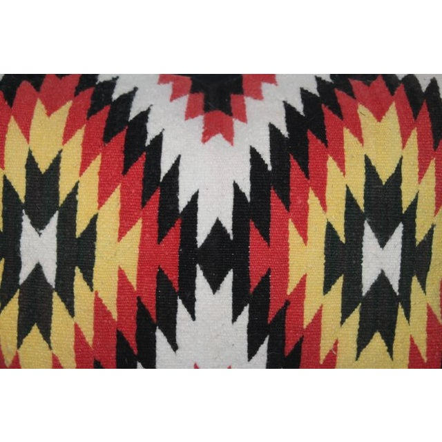 Native American Navajo Indian Weaving Eye Dazzler Bolster Pillow For Sale - Image 3 of 6