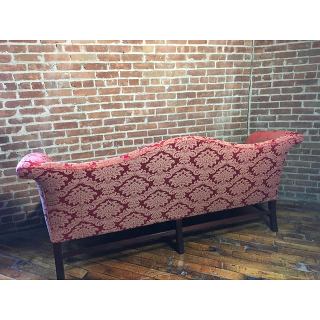 Chippendale 20th Century Red Damask Camelback Sofa For Sale - Image 3 of 7