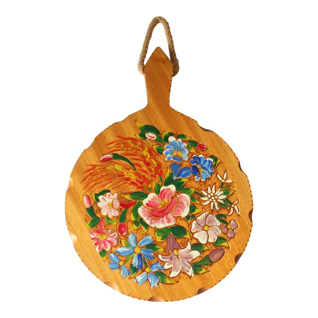 Old Handpainted Wooden Breakfast Plate, Vintage From the 1950s For Sale