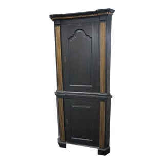 19th Century Neo-Classical Two Part Corner Cupboard For Sale