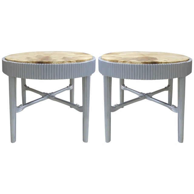 Albert Rateau French Art Deco Lacquered Tables With Goatskin Tops, Pair For Sale - Image 11 of 11