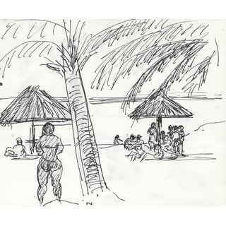 Beach Landscape With Bathers by Heyward Cirker For Sale