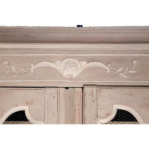 French Provincial Louis XV Style Grey Painted Armoire For Sale - Image 5 of 10
