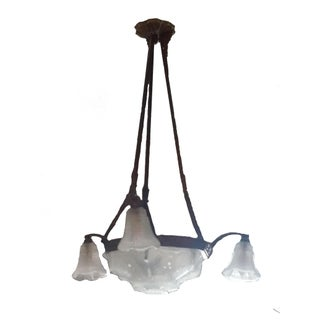 Vintage Art Deco Wrought Iron Pendant