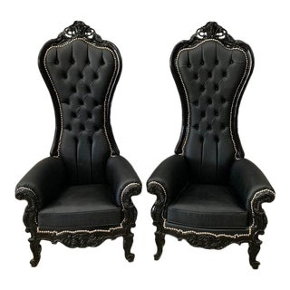 Black Leather Baroque Style Tufted Throne Chairs- A Pair For Sale