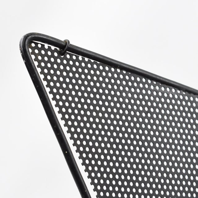 Mathieu Mategot Iconic Butterfly Magazine Holder Rack Black Perforated Metal For Sale - Image 10 of 11