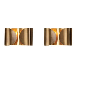 Folded Brass Sconces - a Pair For Sale