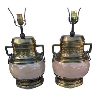 Chapman Asian Inspired With Bronze Finish Details Lamps a Pair. For Sale