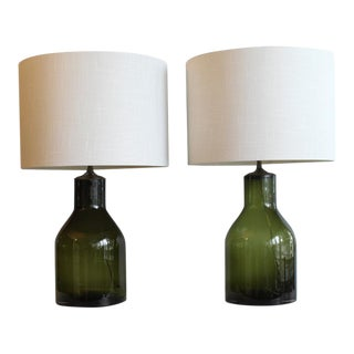 Pair Of Blenko Style Glass Lamps For Sale