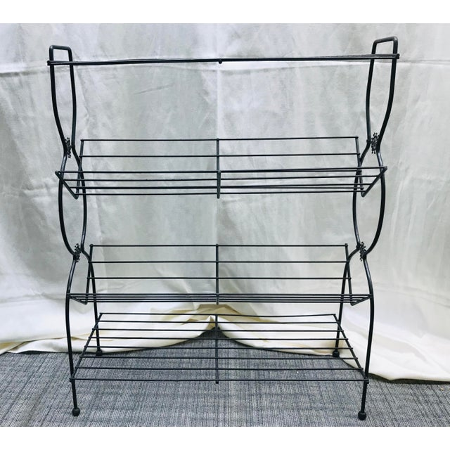 1960s Vintage Mid Century Modern Black Wire Plant Stand Bookshelf For Sale - Image 4 of 12