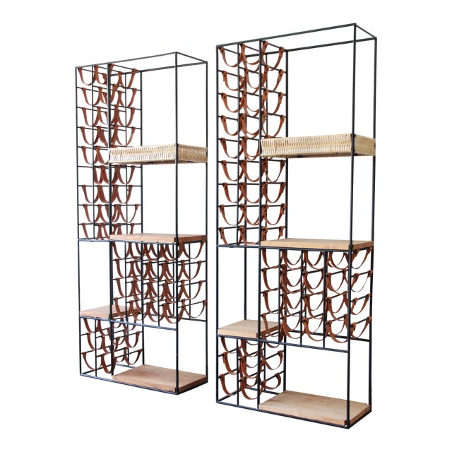 Arthur Umanoff Mid-Century Modern Leather and Iron 40-Bottle Wine Rack, Two Available For Sale
