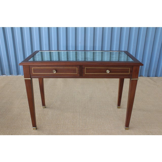 1950s mahogany jeweler's desk. Perfect use for a console table. Finished on all sides. Features brass accents, two...