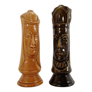 Mid Century King & Queen Ceramic Chess Decanters by Duncan For Sale