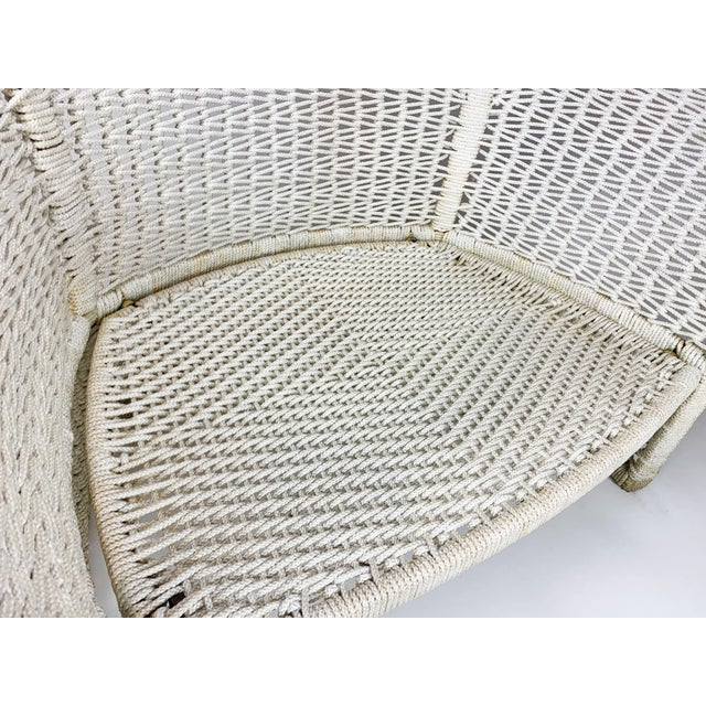 White Vintage Rope Bird Lounge Coastal Chair Aft Bertoia For Sale - Image 8 of 13