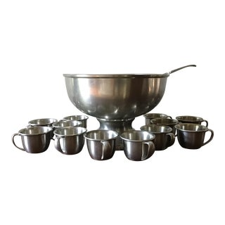 Vintage Woodbury Pewterers Punch Bowl Set, Pewter Punch Bowl Set - 14 Pieces For Sale