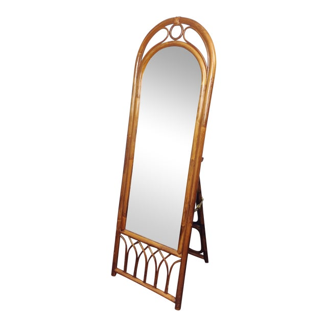 Vintage Bamboo Cane Full Length Floor Dressing Mirror | Chairish