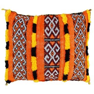 Orange Striped Moroccan Berber Pillow For Sale