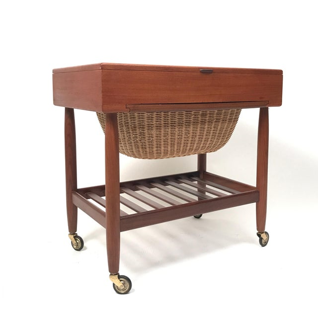 1960s Danish Teak & Rattan Lift Top Sewing Cart/Table with Wheels, Ejvind A. Johansson For Sale - Image 5 of 7
