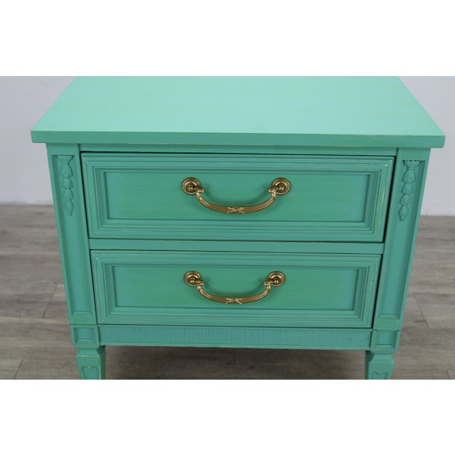 Green Mid Century Neoclassical Style Nightstand, Green Nightstand For Sale - Image 8 of 11