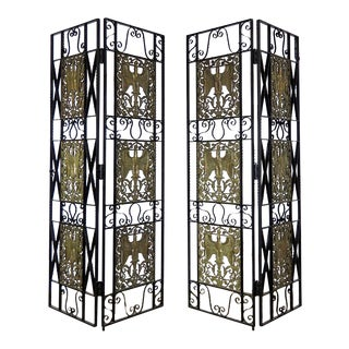 French Bronze & Iron Art Deco Style Room Dividers - a Pair For Sale