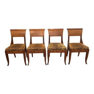 Superb Set of 4 Biedermeier Style Dining Chairs - Scalamandre Tigre