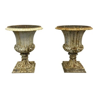 American Cast Iron Urns - a Pair For Sale
