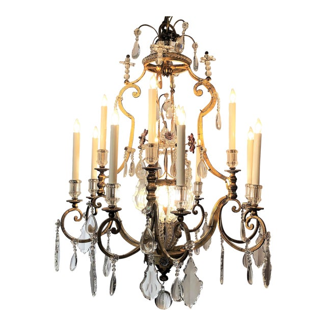 Pair Antique French Iron and Crystal Chandeliers, Circa 1890. For Sale