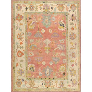 Pasargad Turkish Oushak Wool Area Rug - 9′1″ × 11′11″ For Sale