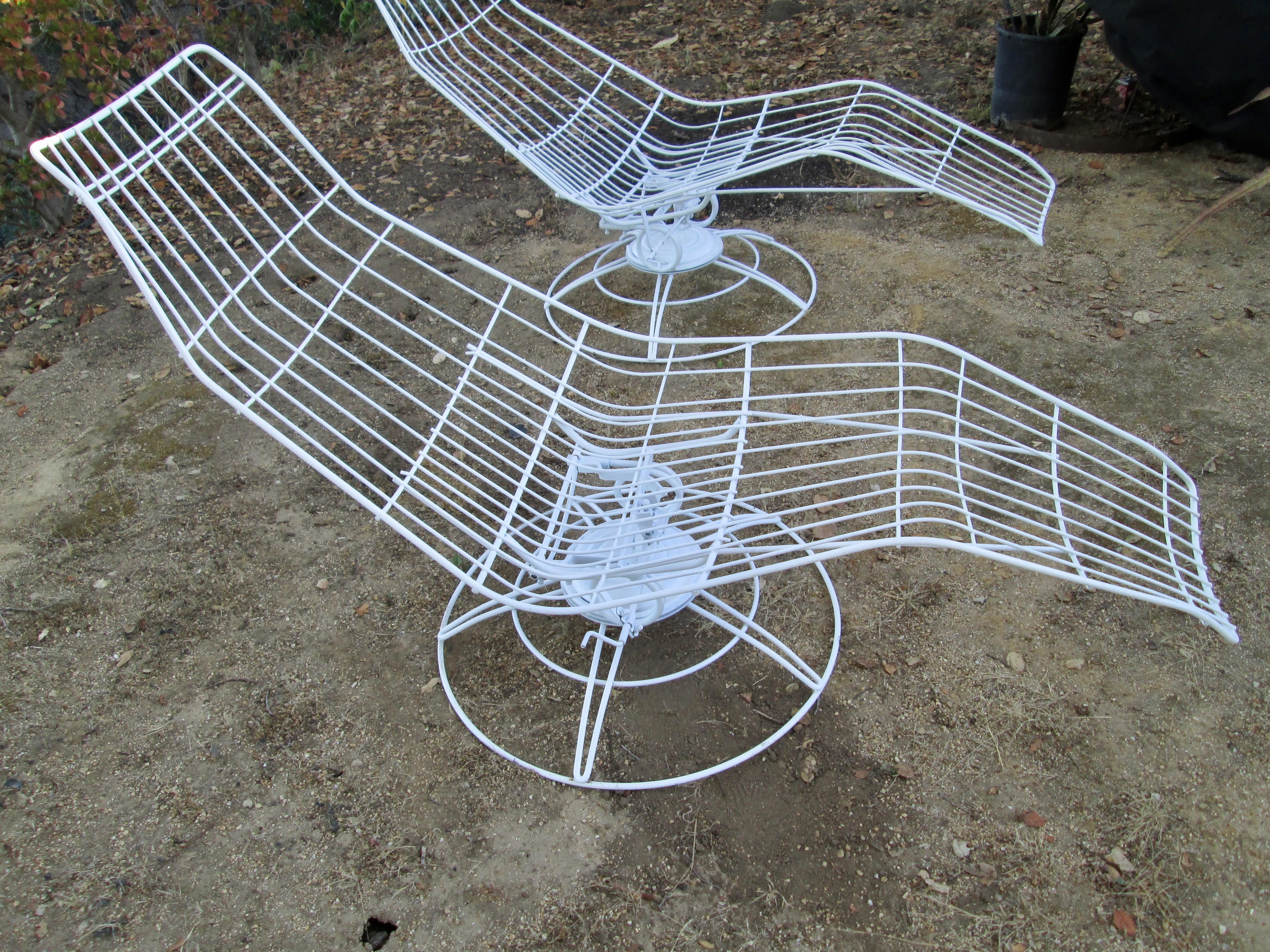 Mid Century Modern Homecrest Iron Lounge Chairs Rocker And Swivel