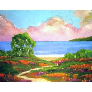 California Monterey Bay Poppies & Lupine Eucalyptus Landscape Painitng For Sale