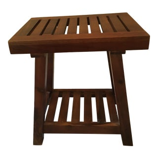 Teak Slatted Wood Side Table/Low Seating Stool For Sale