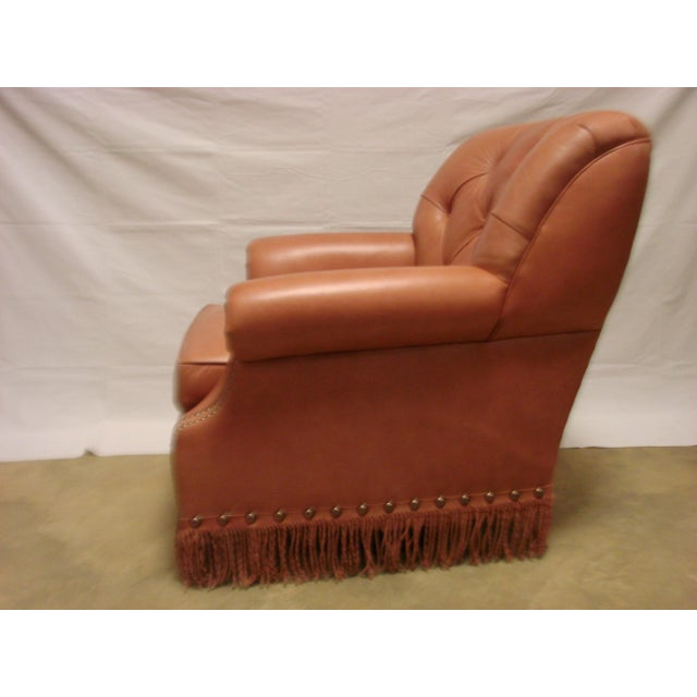Leather Chairs With Tufting & Fringe - Pair - Image 4 of 7