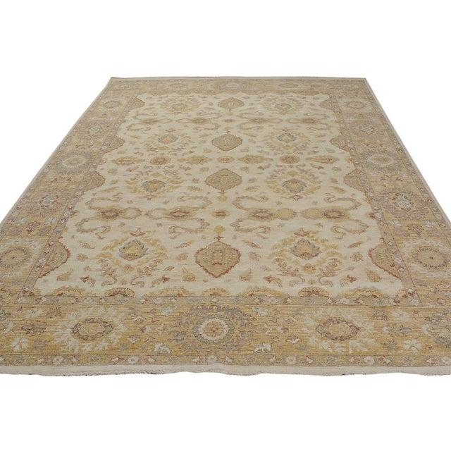 Kafkaz Peshawar Linwood Ivory & Gold Wool Rug - 9'0 X 12'1 For Sale - Image 4 of 7