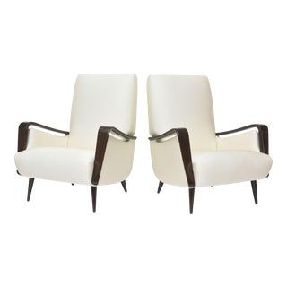 Midcentury Melchiorre Bega Italian Modern Dark Walnut Upholstered Club Chairs For Sale