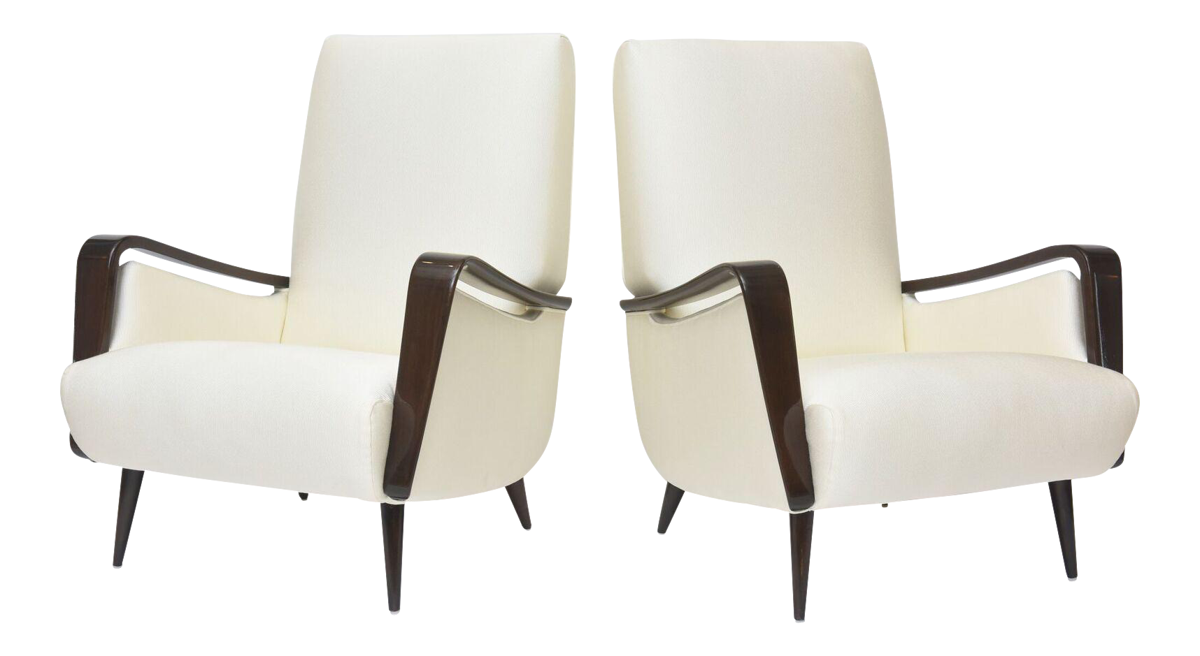 Delicieux Midcentury Melchiorre Bega Italian Modern Dark Walnut Upholstered Club  Chairs   Image 1 Of 11