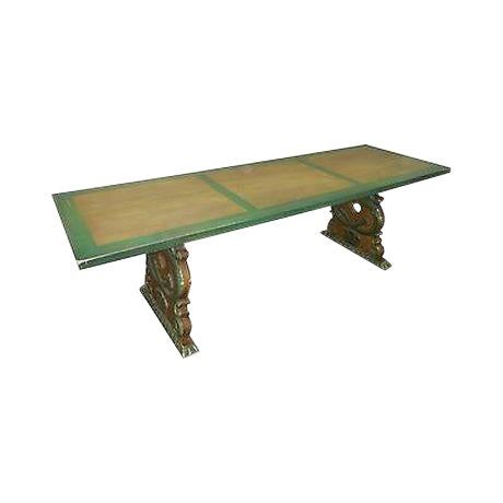 Antique Carved Serpent Base Renaissance Style Painted Splay Leg Dining Table For Sale
