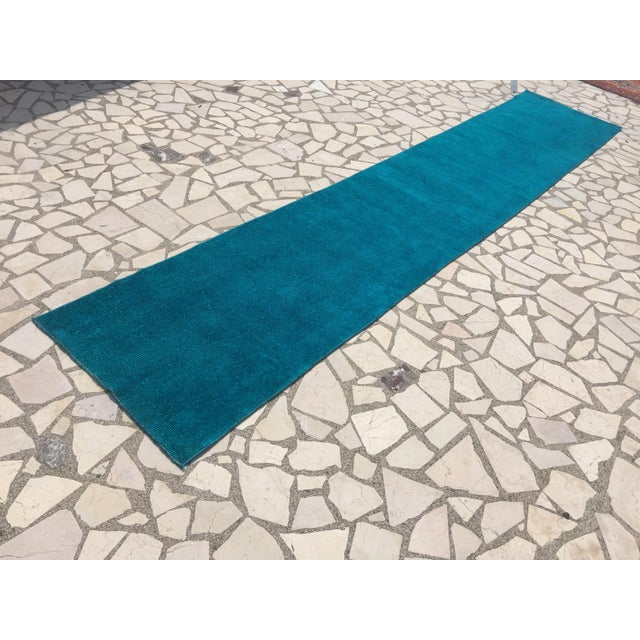 Oushak Over-Dyed Turquoise Runner - 2′10 X 14' - Image 8 of 8