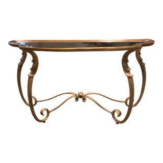 Tradtional Style Gold Finish Metal + Glass Console Table For Sale