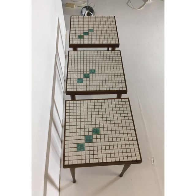 Mid-Century Tile Top Walnut Stacking Tables - Image 3 of 10