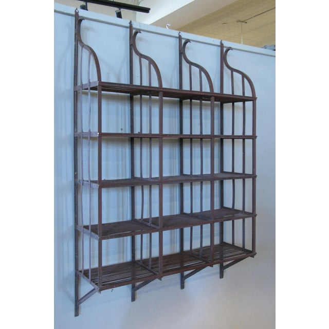 Rustic Wrought Iron Wall-Hanging Shelving Rack For Sale - Image 3 of 7