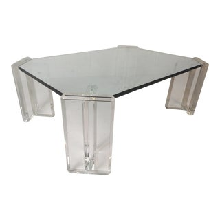 Vintage Modern Glass and Lucite Coffee Table For Sale