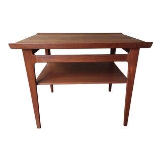 Mid-Century Finn Juhl Diplomat Series Red Teak Side Table For Sale