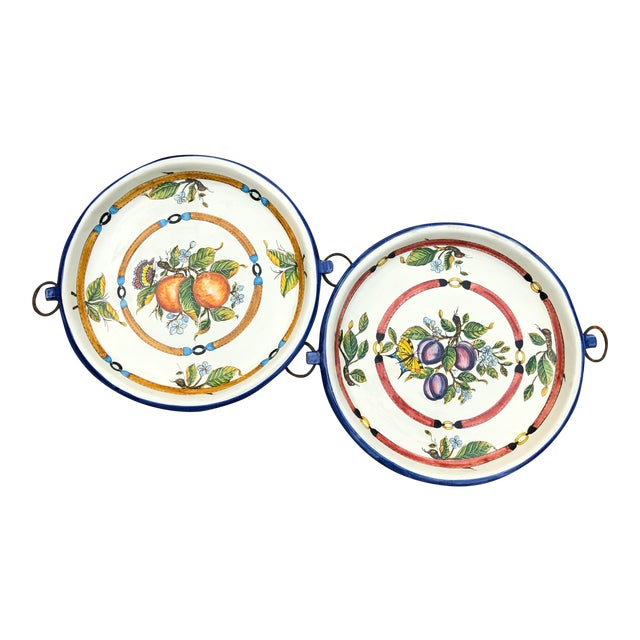 """20th Century Italian 21"""" Pair Ceramic Wall Plates/Chargers Decorative Oranges and Plums For Sale"""
