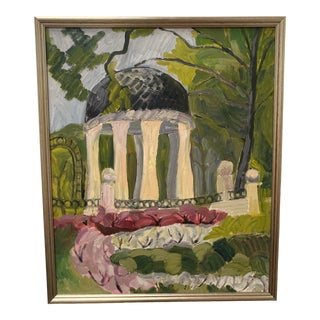 1970s Gazebo Architectural Painting, Framed For Sale